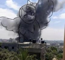 رسمة لريهام هنية عن طفل صغير قتله الجيش الإسرائيلي في غارة على منزله