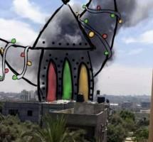 رسمة لريهام هنية عن امرأة فلسطينية تحمل جنينها الذي قتل جراء قصف إسرائيلي على منزلهم