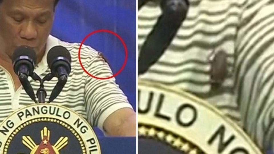 شاهد الصرصور يتجول على صدر رئيس الفلبين وهو يلقي كلمة
