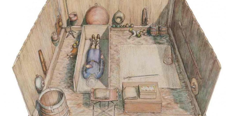 صورة وزعها متحف لندن للآثار عن رسم تقديري لمدفن ملكي اكتشف مؤخرا في جنوب شرق إنجلترا (أ.ف.ب)