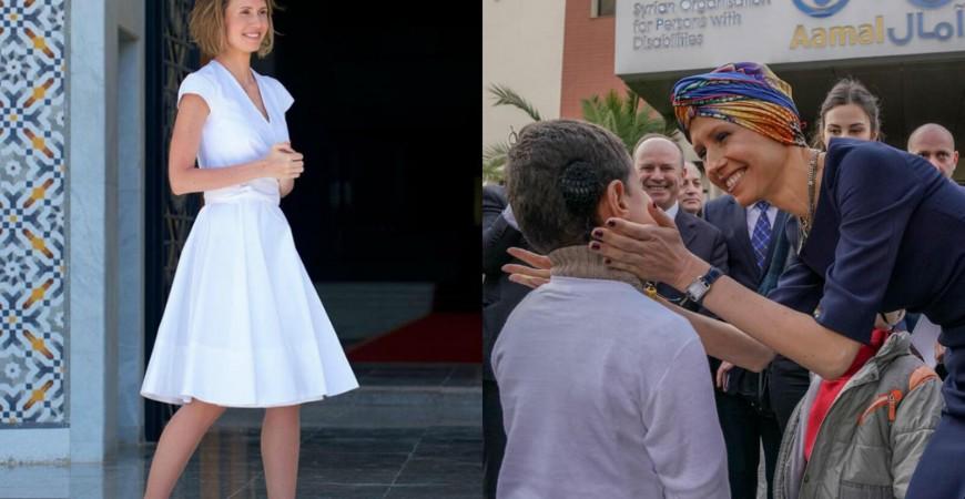 أسماء الأسد قبل وبعد إصابتها بسرطان الثدي